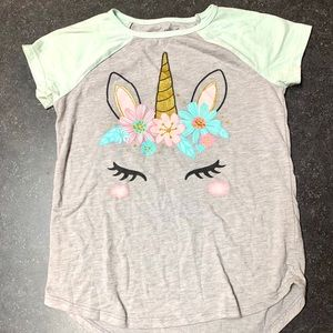 Grey and teal unicorn shirt with leggings